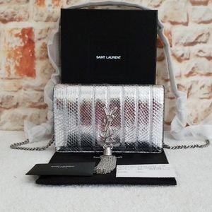 New Saint Laurent Kate YSL Python Wallet/Bag
